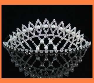 CLEAR RHINESTONE IMITATED PEARL TIARA HEADBAND CROWN WEDDING PROM H796