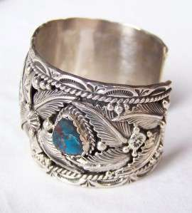 GORGEOUS~NAVAJO~EMER THOMPSON~STERLING SILVER~MORENCI TURQUOISE