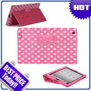 New Polka Dots Cute Leather Case Cover With Stand for Apple iPad 2