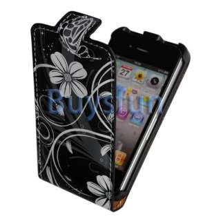 BLACK FLIP VERTICAL LEATHER CASE COVER FOR APPLE IPHONE 4 4G