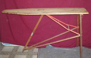 Antique Plymouth Wood Top Ironing Board Metal Frame |