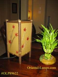 Handmade Shoji Japanese Asian Oriental Bamboo, Maple leaf Table Lamp