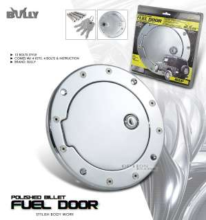 BULLY ALUMINUM CHROME BILLET GAS FUEL DOOR w/LOCK KEYS