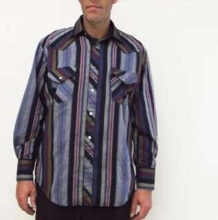 80s Vtg BJ R Striped Blue Gray Western Cowboy Shirt L