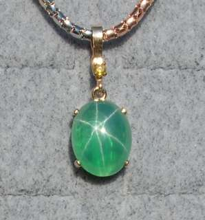 LINDE LINDY TRANS GREEN STAR SAPPHIRE CREATED PENDANT