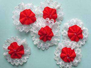 35 pcs Red Satin Flower with White Lace Applique 2.5cm Bridal Craft