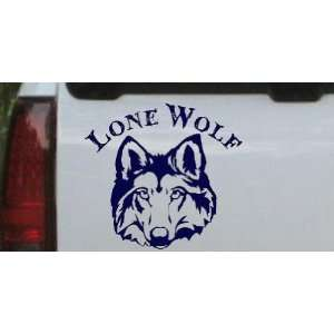 Lone Wolf Head Biker Car Window Wall Laptop Decal Sticker    Navy 18in