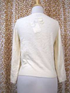Ivory White Embellished Cashmere Blend Cardigan Sweater sz