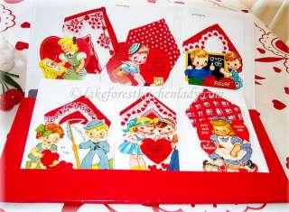 1950s Vintage Style Valentine Cards w/ Hankies Dots, Checks, Hearts