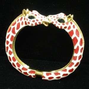 Giraffe Bracelet Vintage Hinged Enamel Bangle Kenneth Jay Lane KJL
