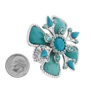 Fashion Jewelry ~ Stretchable Blue Flower Accented with