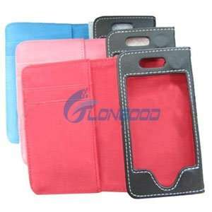 LUXURY BLACK BLUE CLUTCH WALLET Leather Case for iPhone 4 iPhone