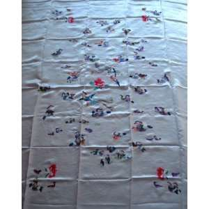 Chinese Silk Satin Embroidery Bedspread Love Duck White