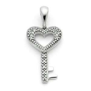 XP3175AA 14k White Gold Heart Key Pendant with Diamond Jewelry