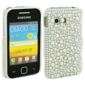 WalkNTalkOnline   Samsung S5360 Galaxy Y White Pearls Handmade Crystal