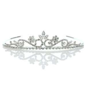 Bridal Princess Rhinestones Crystal Flower Wedding Prom Tiara
