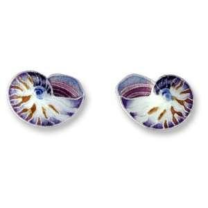 Nautilus Shell Sterling Silver & Enamel Earrings