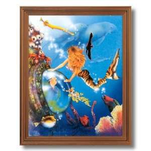 Lady Mermaid Tropical Ocean Fish Fantasy Wall Picture Oak Framed Art
