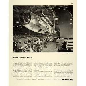 1944 Ad Boeing Plant Aerospace Production Line Flying