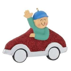New Driver Boy   Red Car Christmas Ornament