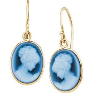 Pair 13.50X11.50 14K Yellow Gold Agate Cameo Earrings Jewelry