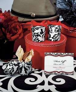White & Black Love Bird Damask Round Wedding Favor Box/Container