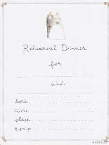 REHEARSAL DINNER INVITIATIONS Wedding Party Bride NEW