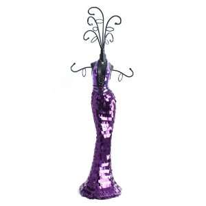 Purple Dress Jewellery Mannequin Display Holder Stand