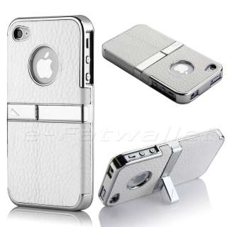 Silver Aluminum TPU Hard Case Cover W/Chrome Stand For iPhone 4 4S
