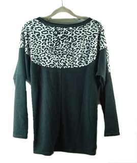 New Fashion Womens Batwing Tops Long Sleeve Casual Blouse Leopard