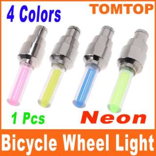 Bike Car Tyre Wheel Valve Caps LED Light Neon Lamp Blue Green Yellow