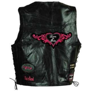 Ladies Womens Black Leather Motorcycle Vest w/ Patches