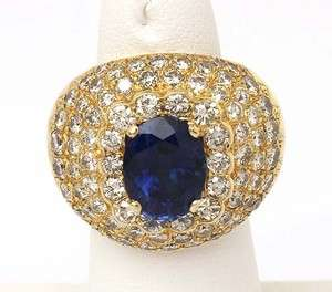 TRENDY 18K GOLD & 9.3 CTS SAPPHIRE DIAMONDS DOMED RING