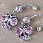 14g PINK Crystal STAR Dangle Girl Navel Belly Ring 1pc