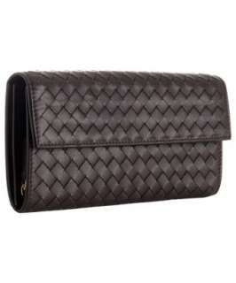 Bottega Veneta brown woven leather continental wallet   up to