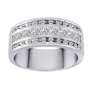 10k White Gold Diamond Band (1cttw, H I Color, I1 I2 Clarity), Size 8