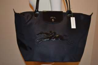 LONGCHAMP Victorie Large Nylon Tote Bag Black Long Handle NEW