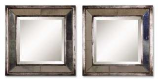 These square frames feature a distressed, antiqued silver leaf finish