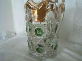 Vintage Glass Pitcher w 6 Glasses~ Green Glass Dots Gold Trim