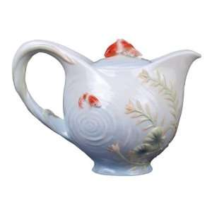 inch Glazed Porcelain Koi in Lotus Pond Teapot with Koi Lid