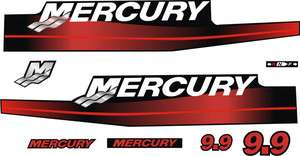 Mercury 9.9hp 9.9 hp Red outboard motor decals stickers