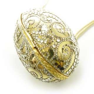 JUDITH LEIBER Crystal Egg Minaudiere Clutch Bag Gold