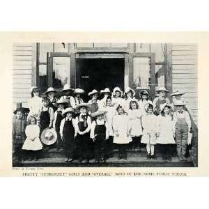 1913 Halftone Print Portrait Sunbonnet Girls Nome Alaska