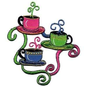 Coffee Cups on Stand/Beverages, Coffee/Iron On Applique
