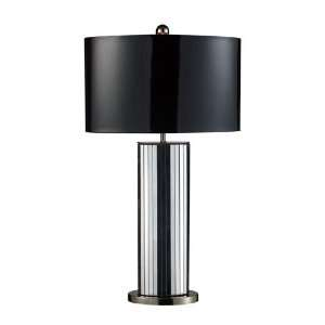Nickel with Oval Black Patent Faux Leather Shade and Silver Fabric