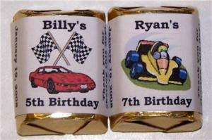 60 RACE CAR KIDS BIRTHDAY PARTY CANDY WRAPPERS FAVORS