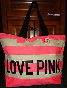 Victoria Secret PINK Love Striped Canvas Weekender Zip Top Tote Bag