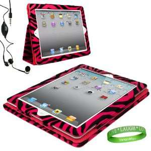 Pink Zebra iPad Skin Cover Case Stand with Screen Flap and