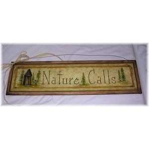 Nature Calls Country Bathroom Outhouse Wall Art Sign