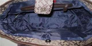 Tommy Hilfiger Womens Shopper Tote Purse Handbag Brown Monogram $79